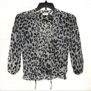 5/$25 NY&Co leopard sheer blouse